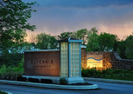 Alvernia University Wayfinding Route 10 Entrance at Night