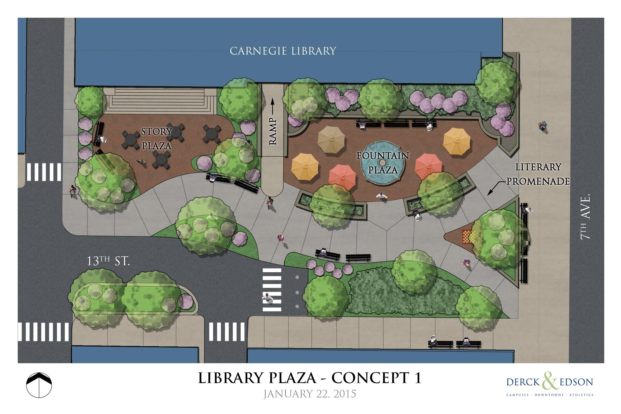 Beaver Falls Library Park Concept 1