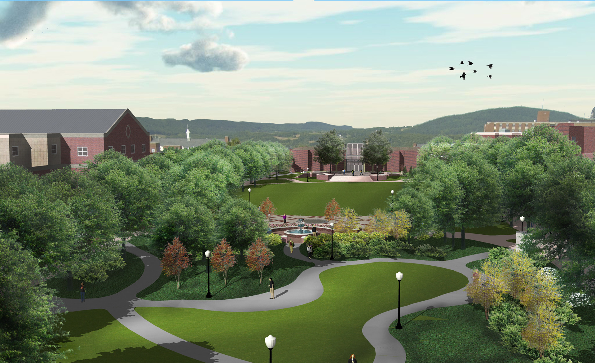 Bloomsburg University Aerial Rendering