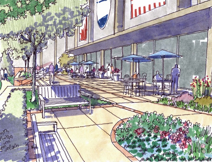 Lycoming College Pennington Plaza Sketch