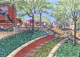 Malone University Plaza Sketch