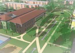 UIU Student Center Aerial Perspective