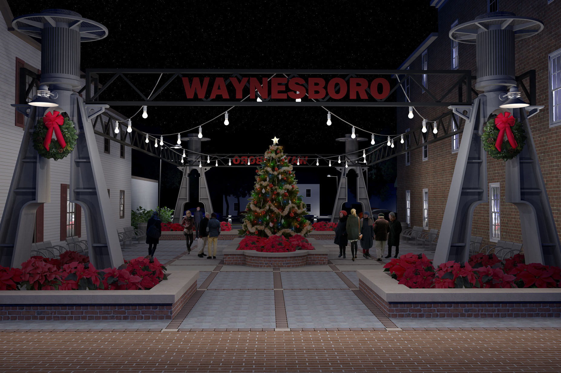 Waynesboro Pocket Park Christmas Night
