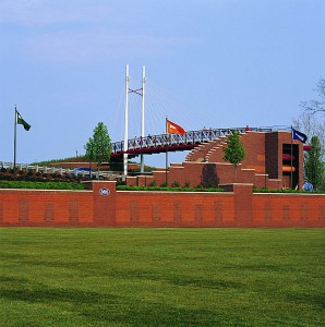 baseball outfield with bridge
